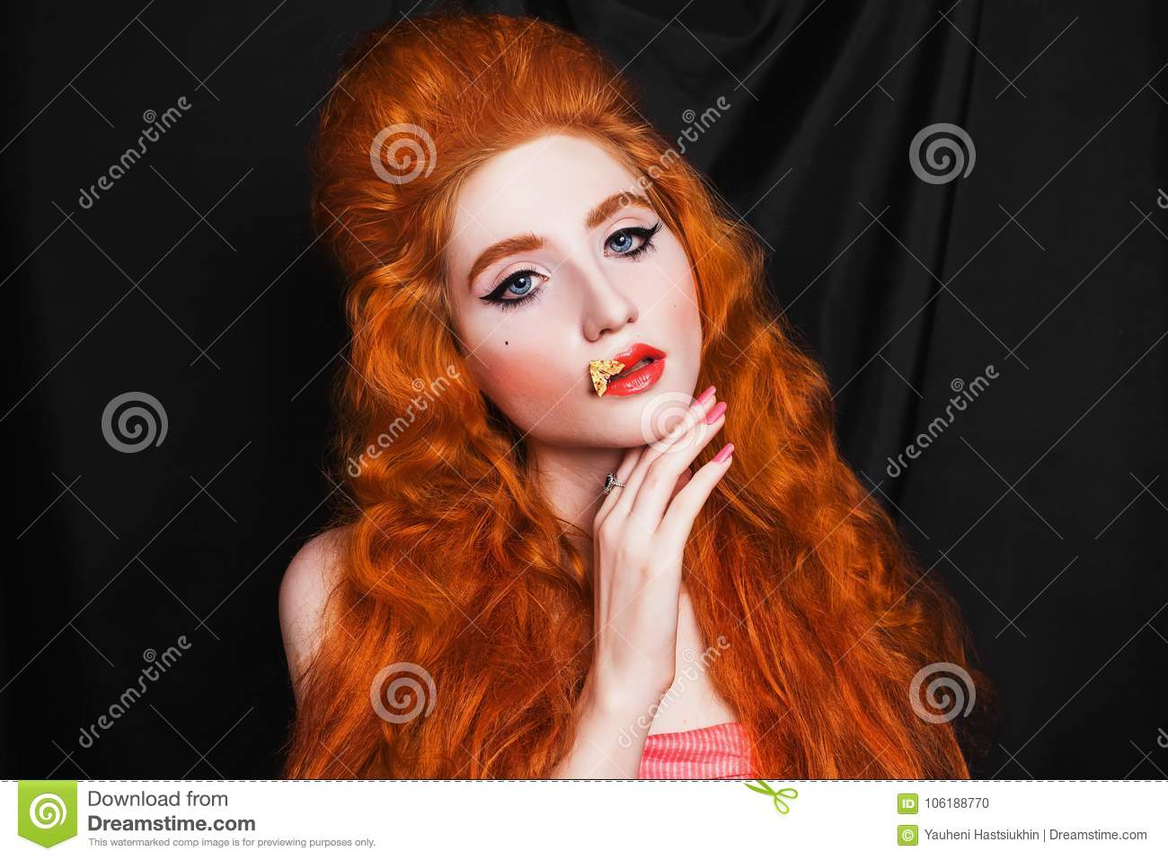 Charming Girl With Red Hair Stock Photo Image Of Young Makeup