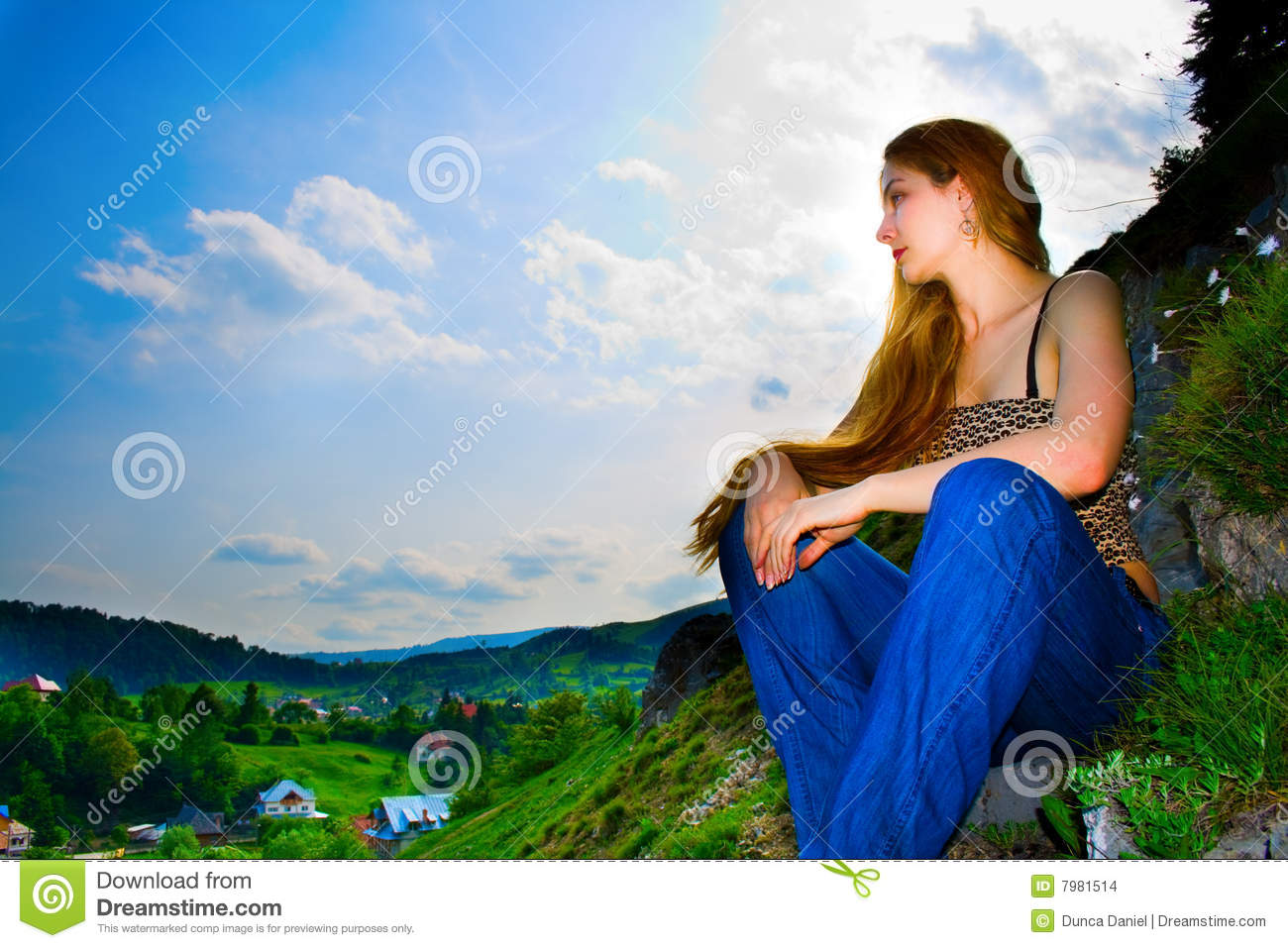 Woman and panoramic rural mountain view