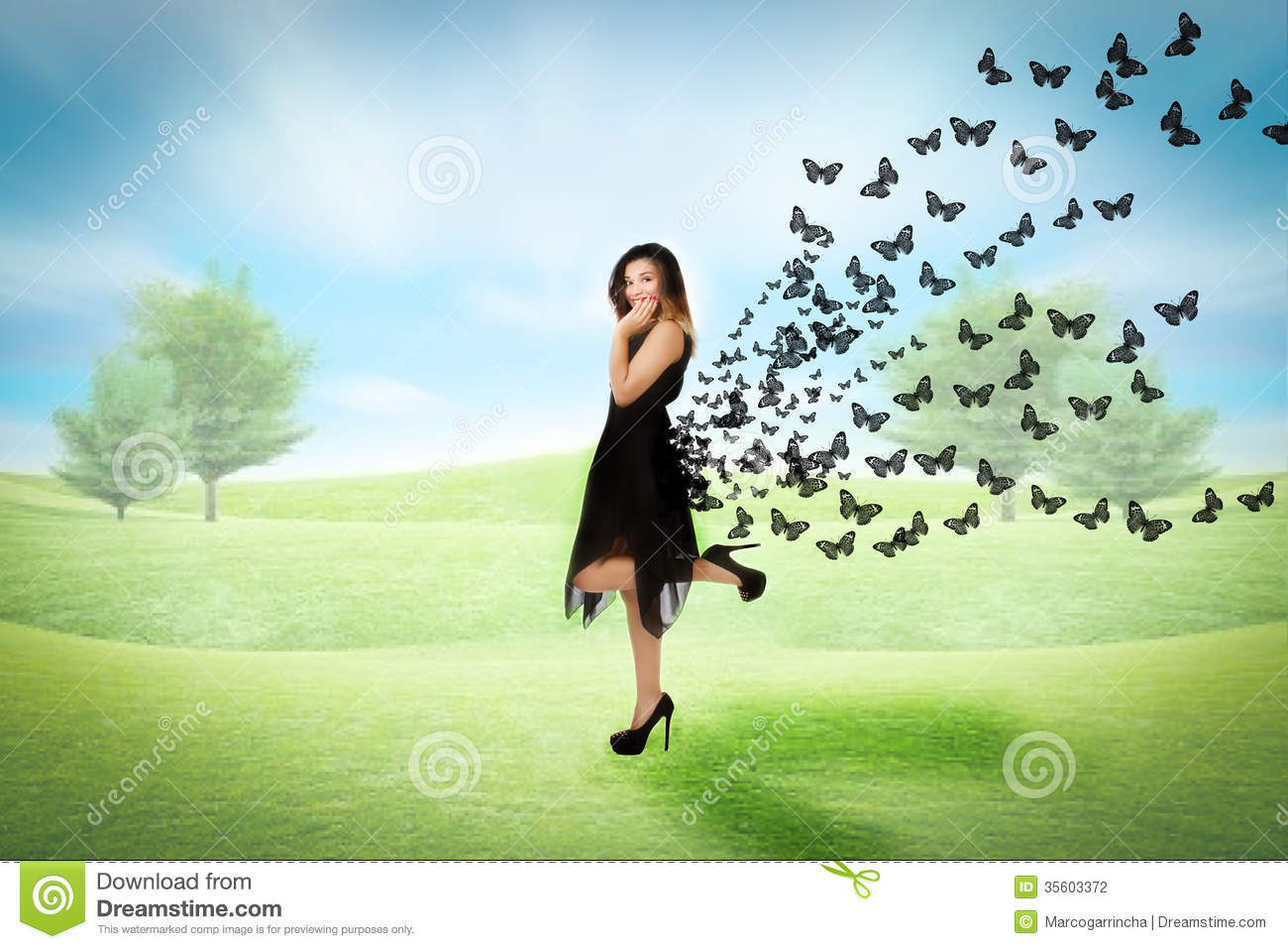 Woman In A Park Sense Of Freedom Stock Photography Image