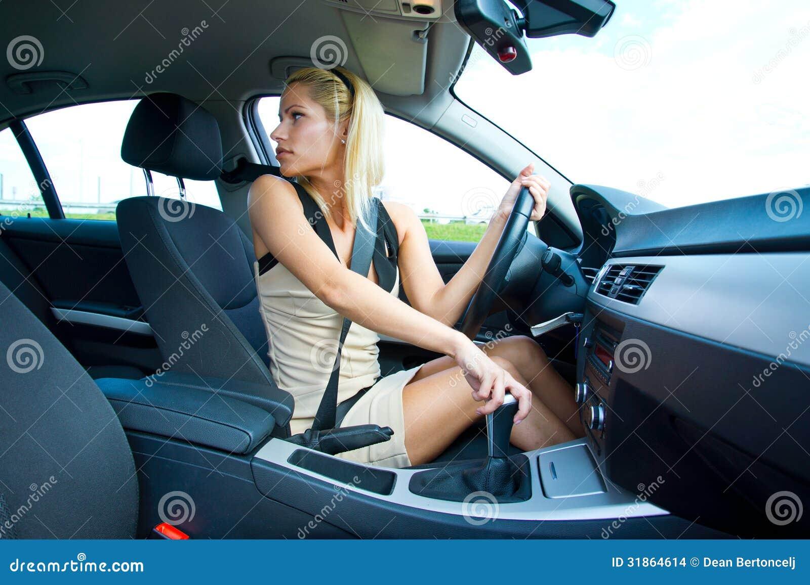 Girl Sitting In Car At Drive In