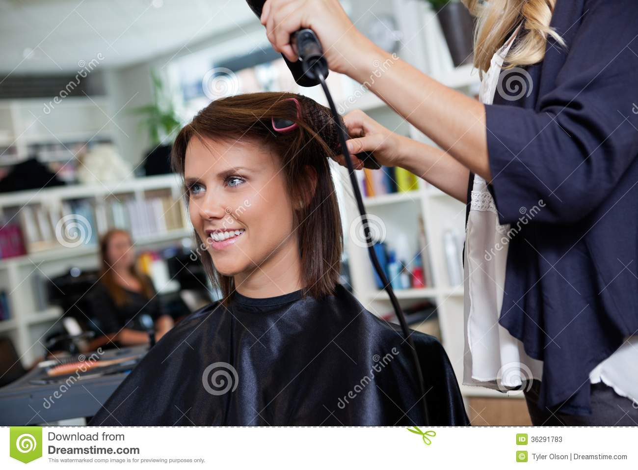 Woman At Parlor Stock Image Image Of Hair Dryer