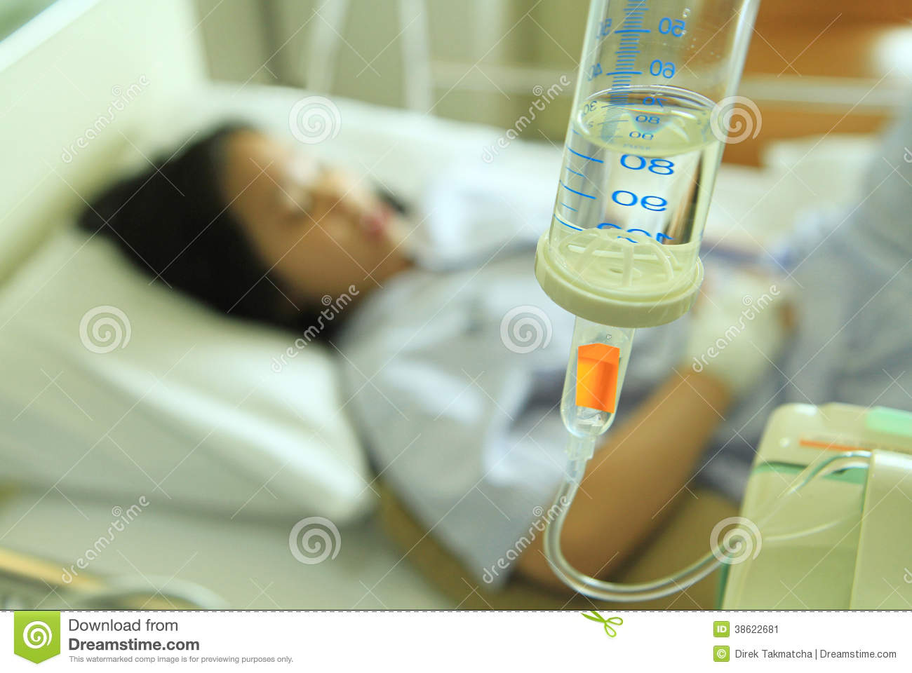 Woman Patient On Hospital Bed Stock Image - Image: 38622681