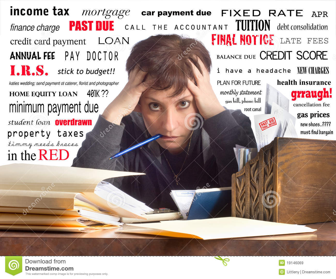 Woman Paying Bills Stock Image Image Of People Expenses 19146069
