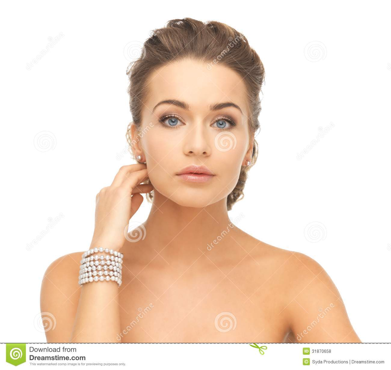 Innovative Woman Wearing Shiny Diamond Earrings Stock Photo  Image