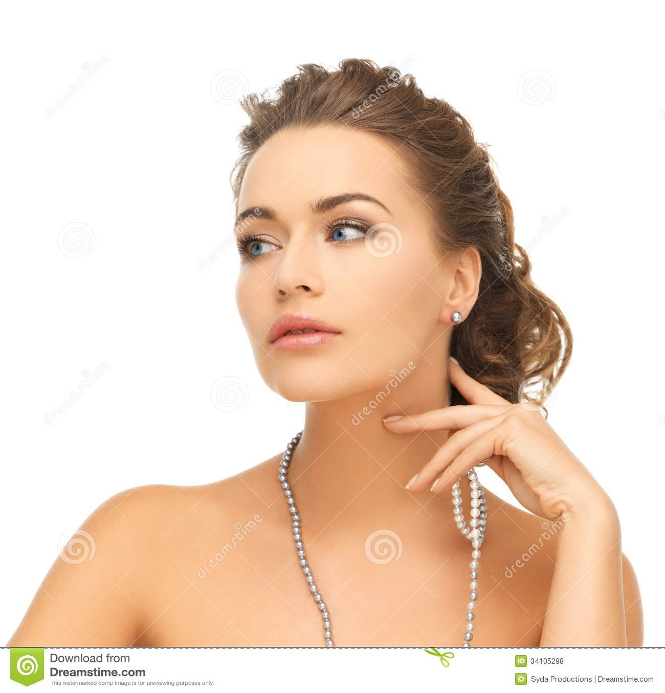 Bride and wedding concept beautiful woman wearing pearl earrings and