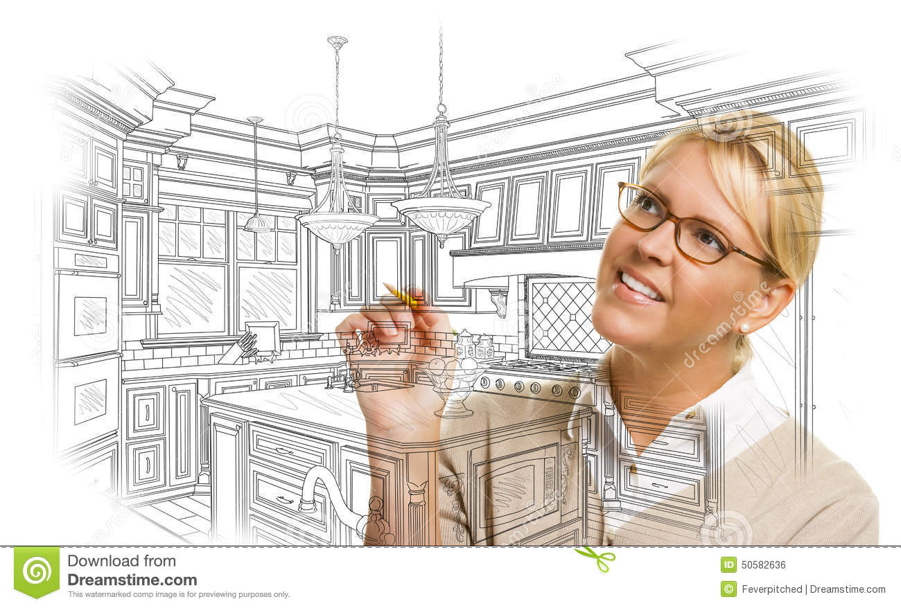 Woman With Pencil Drawing Custom Kitchen Design