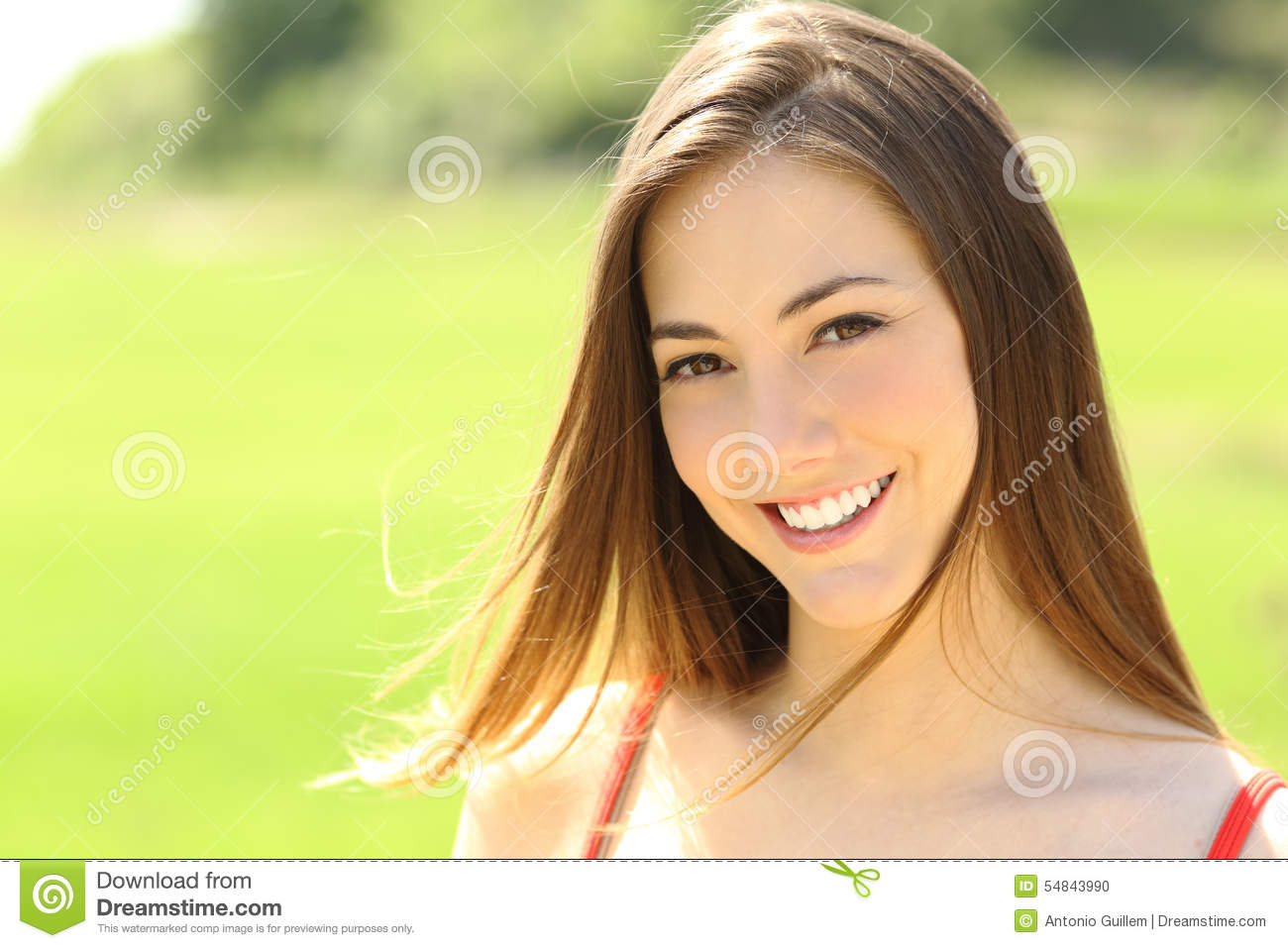 Woman With Perfect Teeth And Smile Looking You Stock Photo ...