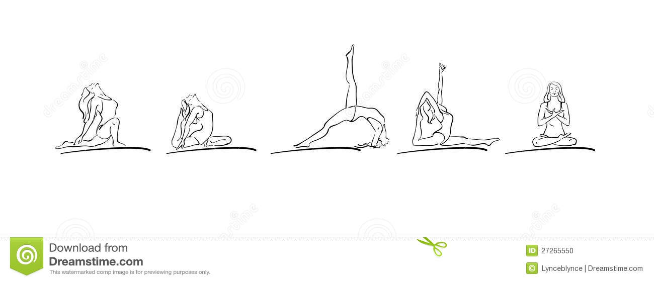 Woman Performing Yoga Asanas Line Drawing
