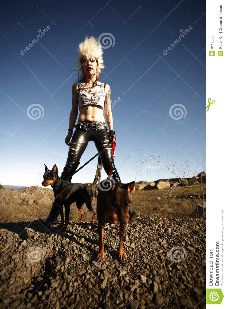 Woman With Pet Dogs Stock Photo Image Of Earring Female