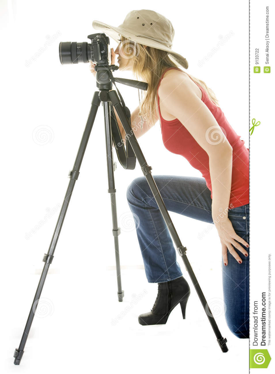 Woman With Photo Camera And Tripod Stock Photography ...
