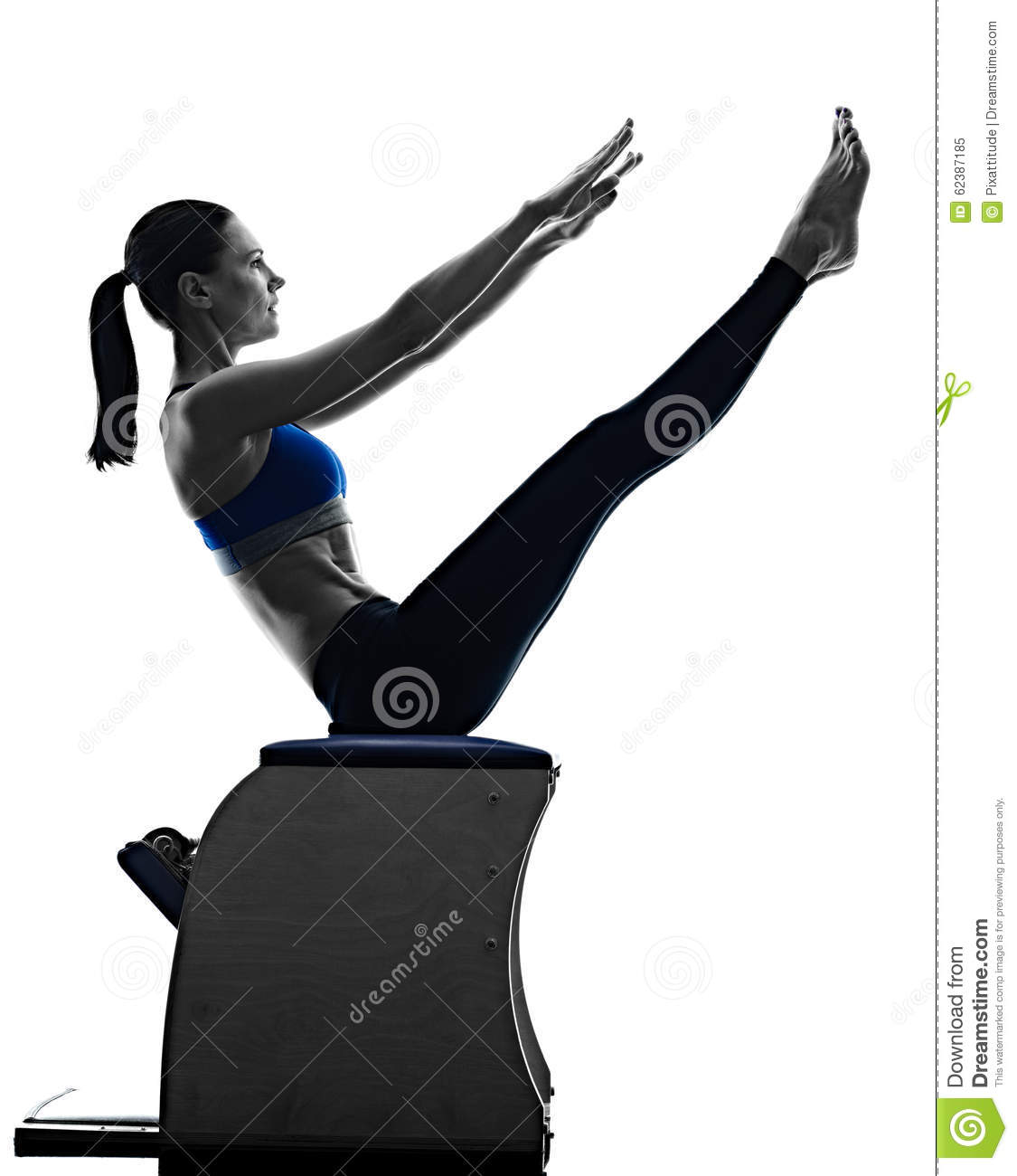 10 Moves On The Pilates Chair: Woman Pilates Chair Exercises Fitness Stock Photo