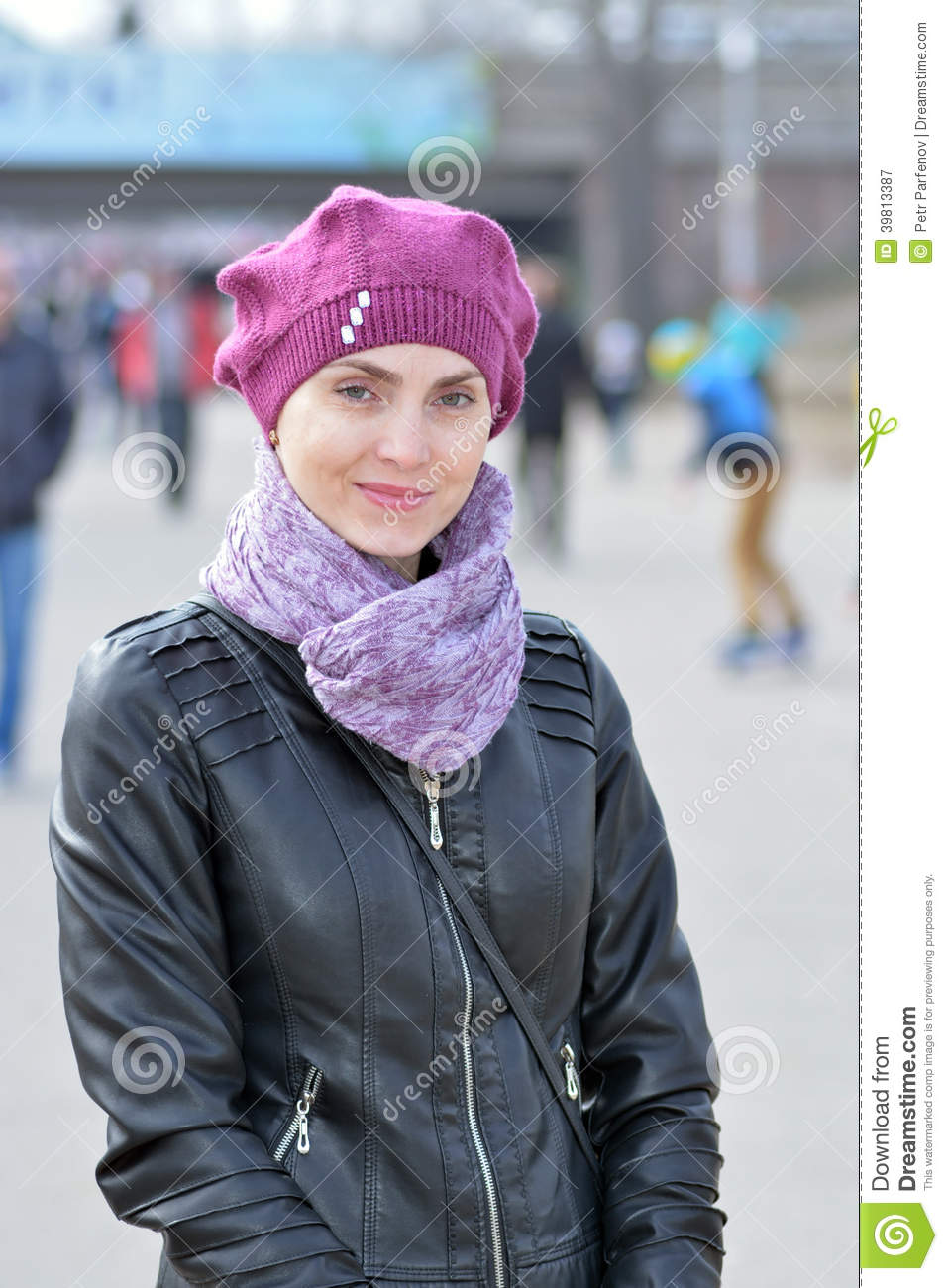 85be639a927e80 Woman in pink beret and black leather jacket on a walk. More similar stock  images. Close-up of fancy seventy-year madam wearing ...