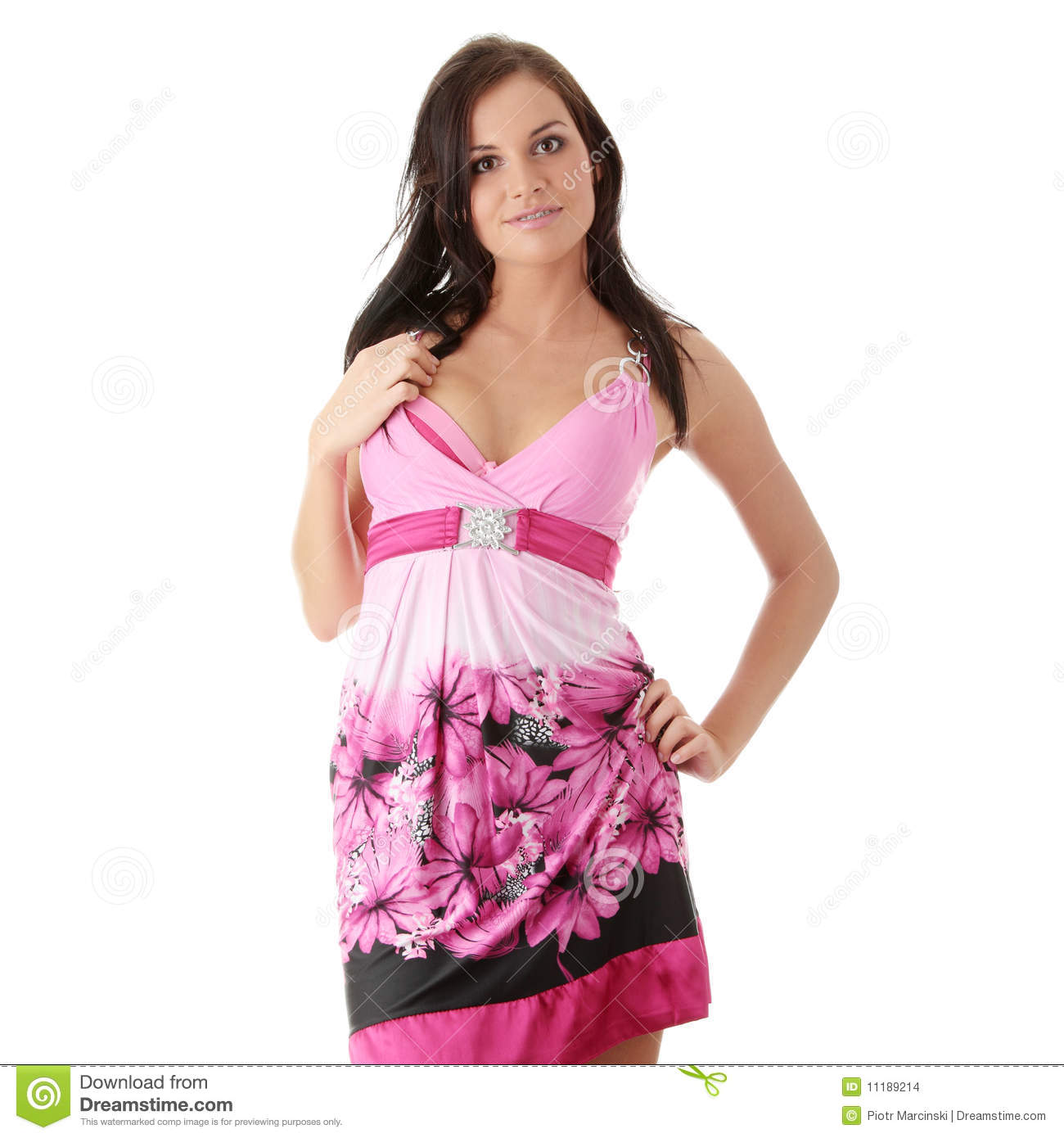 Woman In Pink Dress With Orthodontic Appliance Stock Photo - Image ... cb0521b43