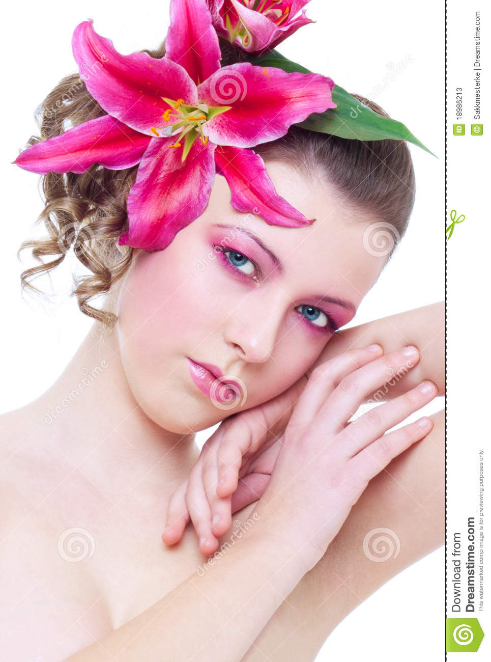 Woman With Pink Flower In Hair Stock Image Image Of Posing Leans