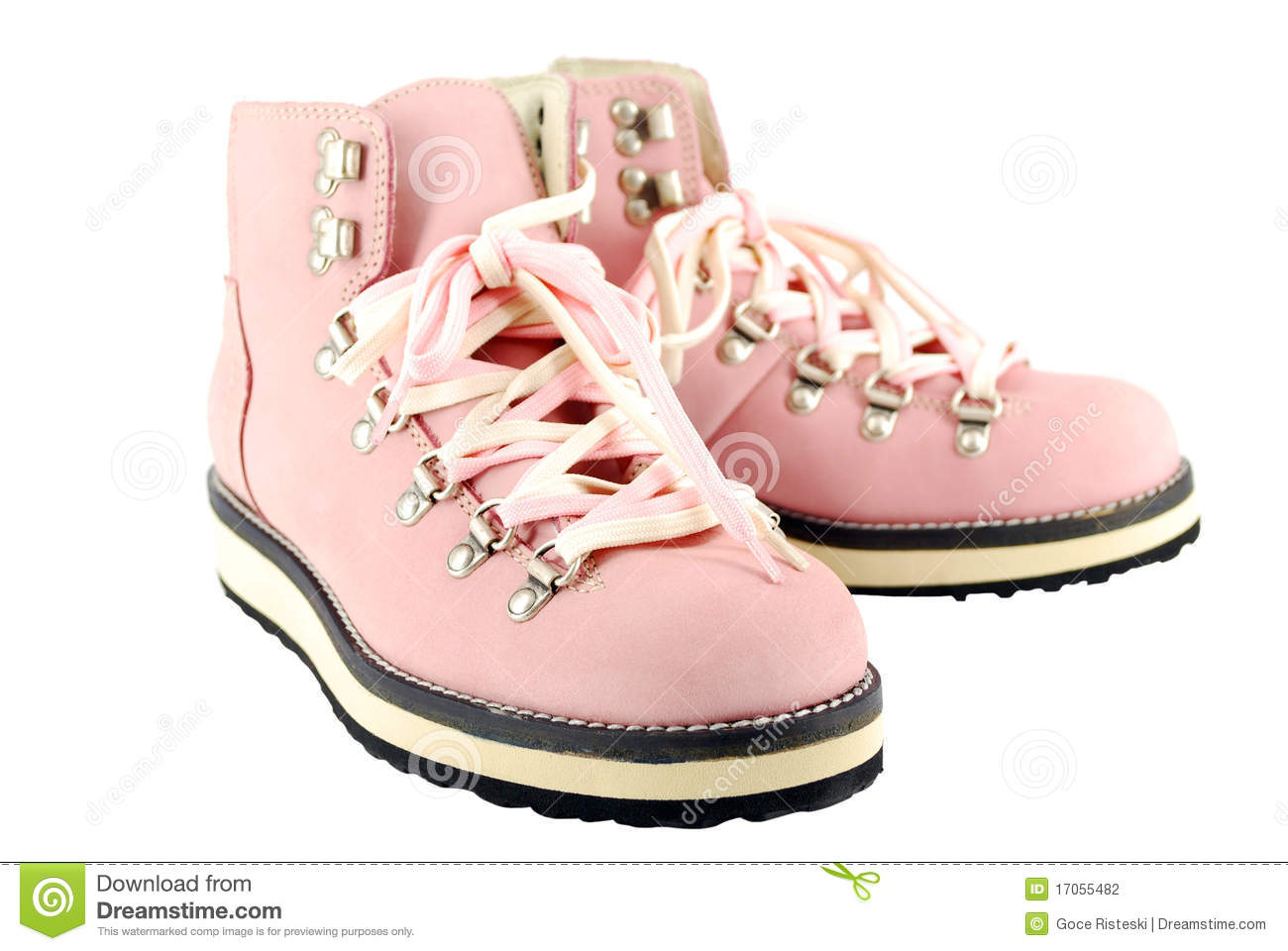 Woman pink hiking boots