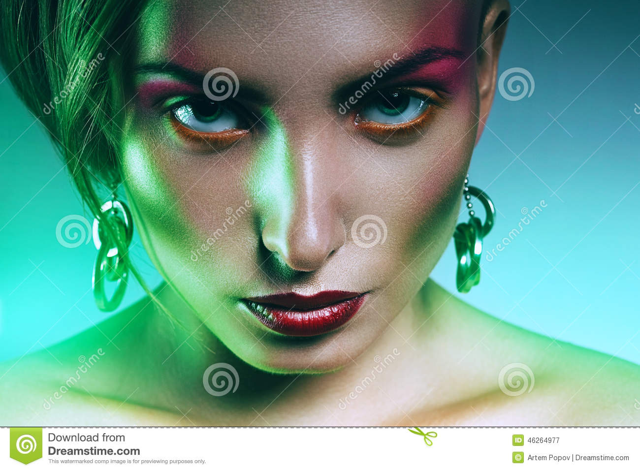 woman with pink make up in green light stock photo image. Black Bedroom Furniture Sets. Home Design Ideas