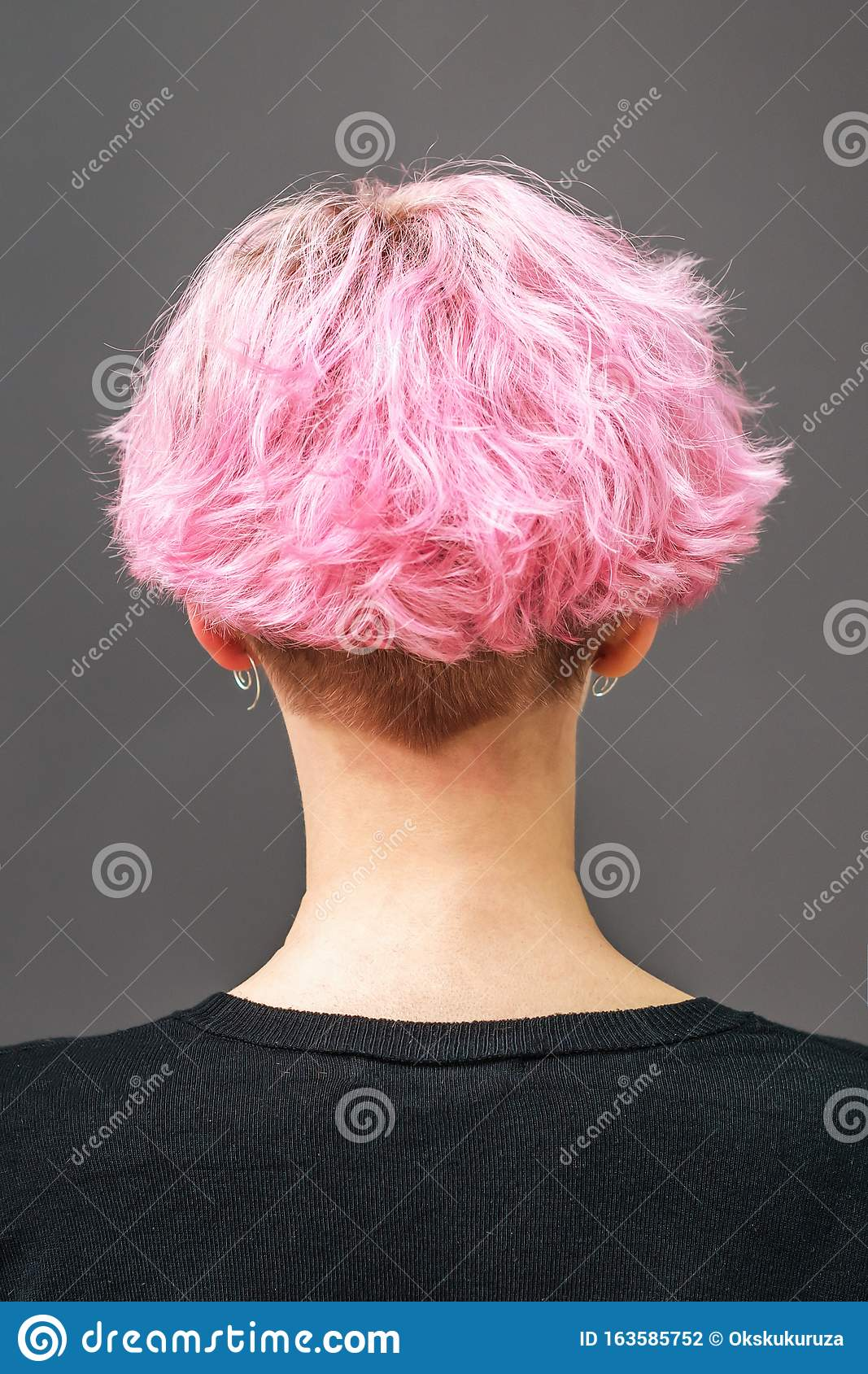 Woman With Pink Short Hairstyle Stock Photo   Image of cover ...