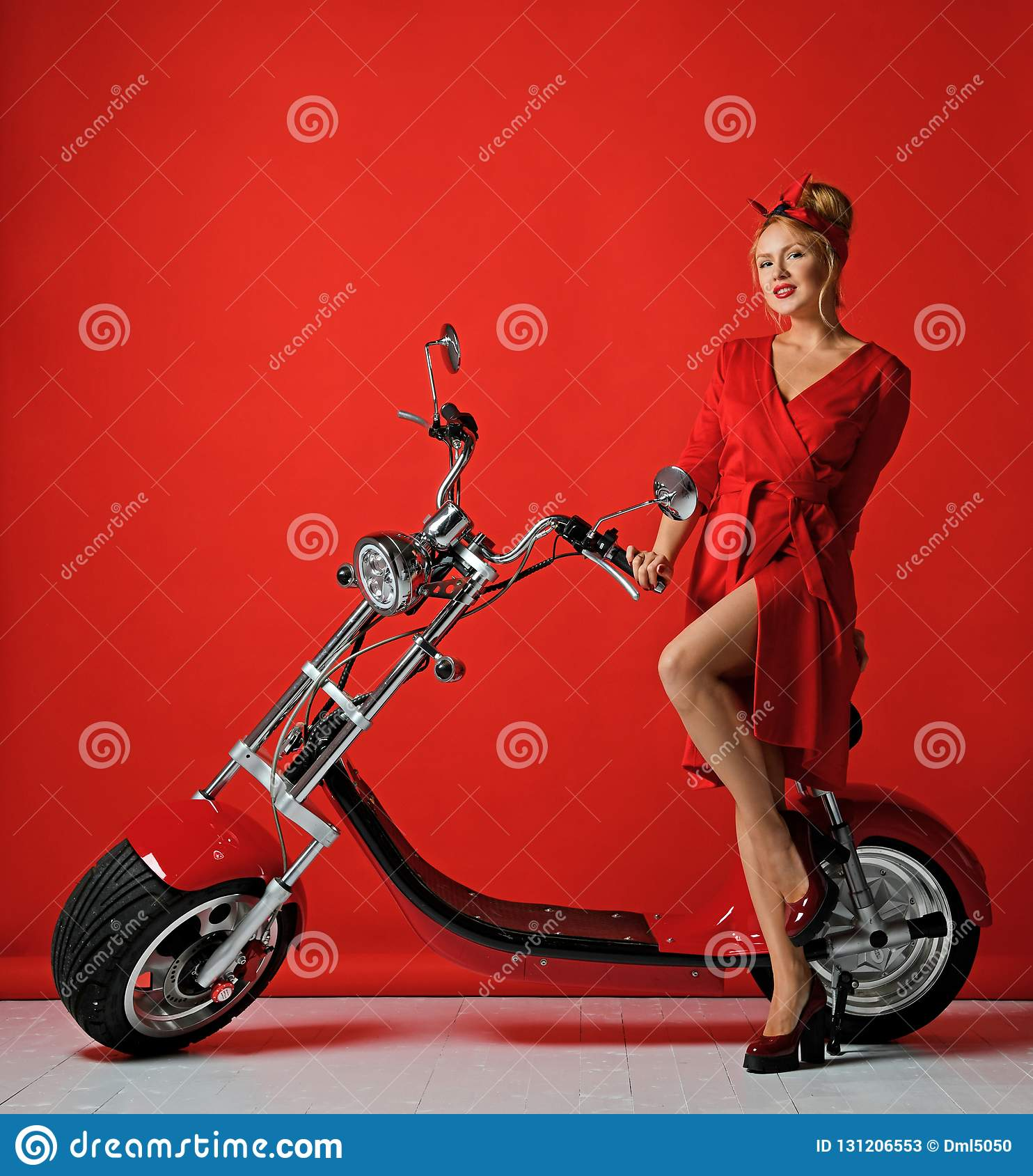 Woman pinup style ride new electric car motorcycle bicycle scooter present for new year 2019