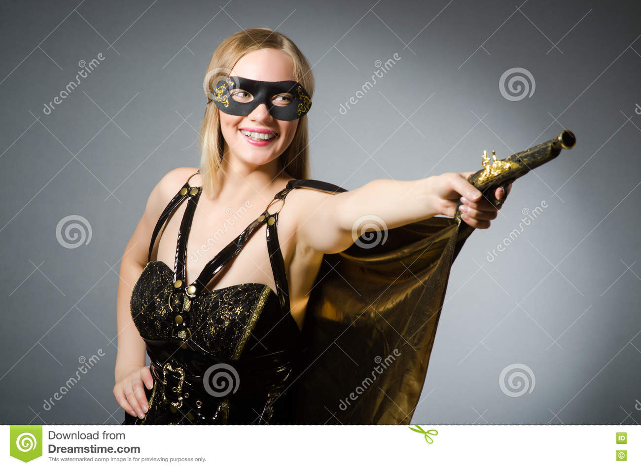 The woman in pirate costume