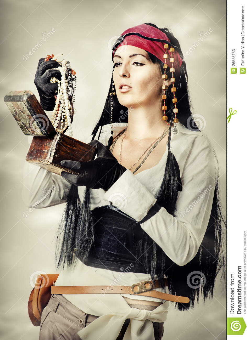 Woman Pirate Opens The Treasure Chest Stock Photos - Image ... - photo#26