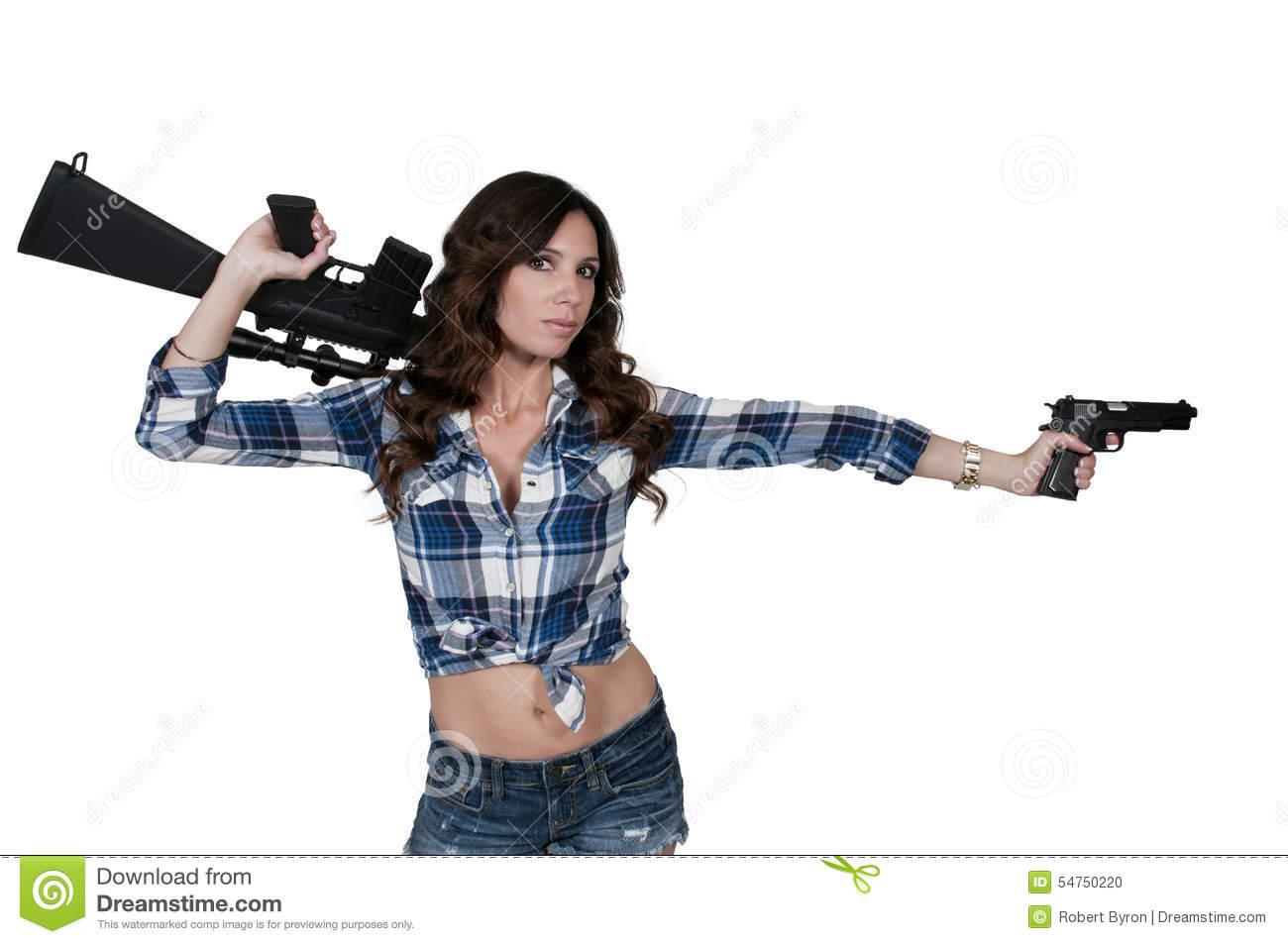 Woman With Pistol And M16 Stock Photo Image 54750220