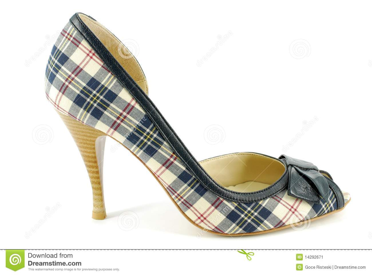 Stock Image: Woman plaid high heel shoe