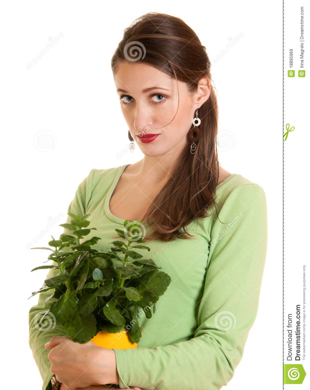 Woman with plant stock image. Image of female, color ...