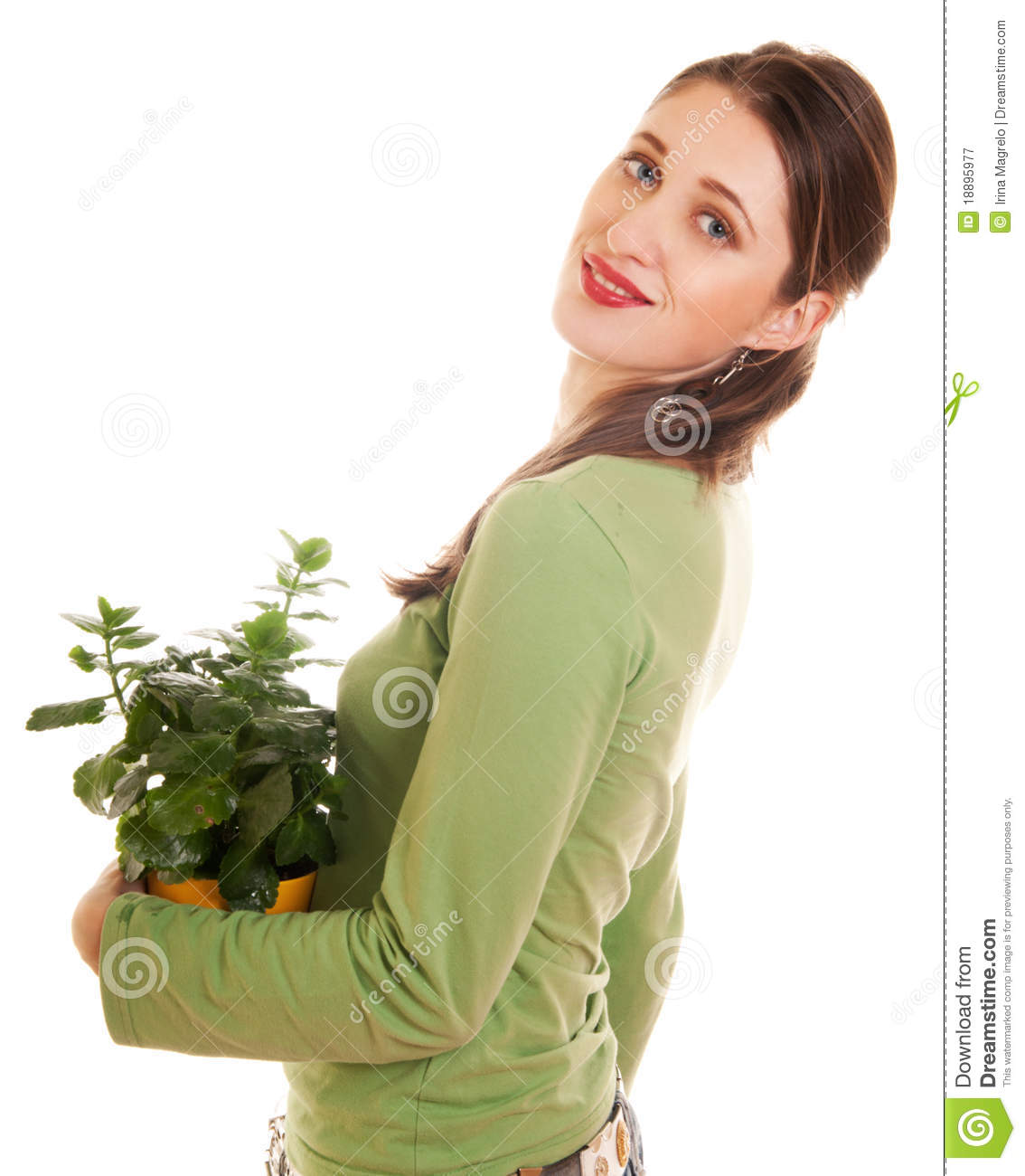 Woman With Plant Royalty Free Stock Photography Image