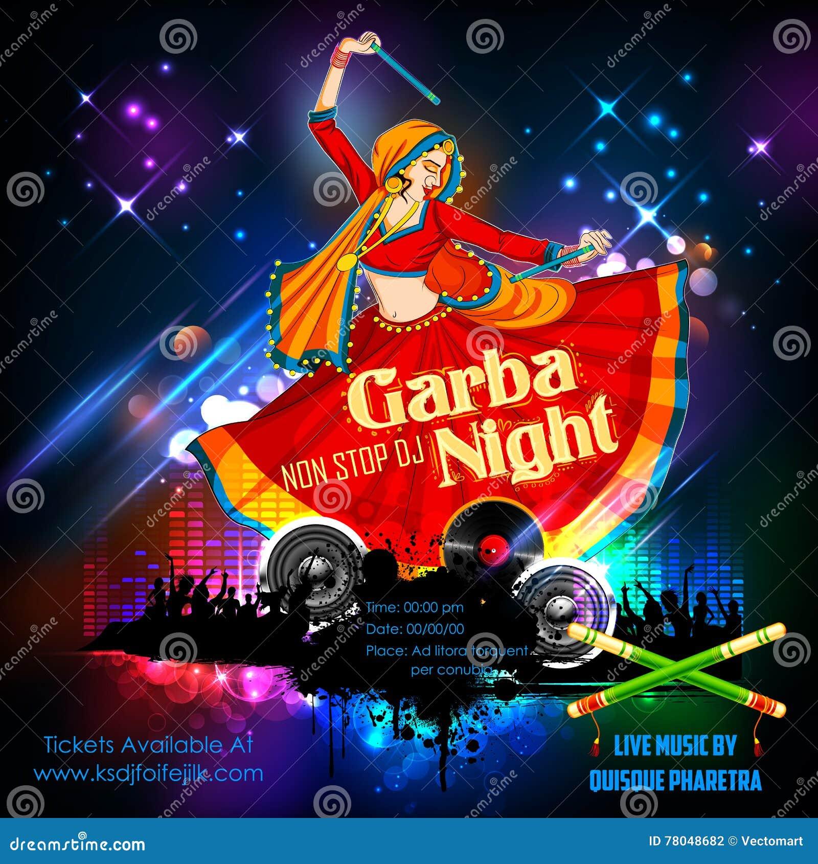 Dandiya Night Vector Illustration Cartoondealer Com