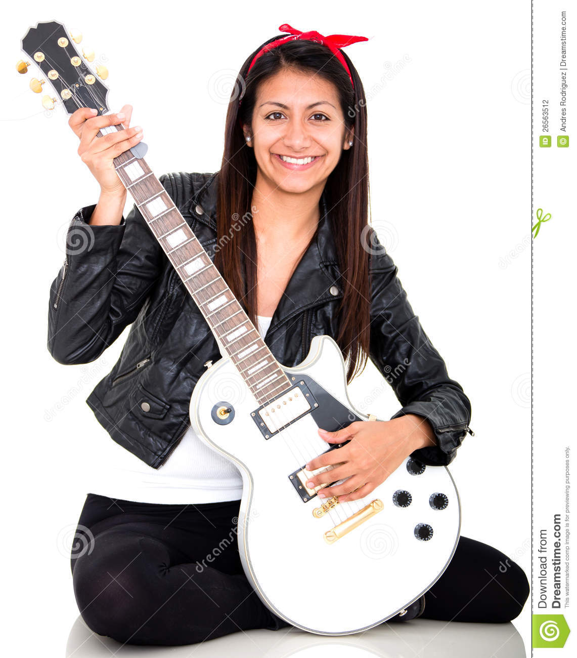 Woman Playing An Electric Guitar Stock Photography - Image ...