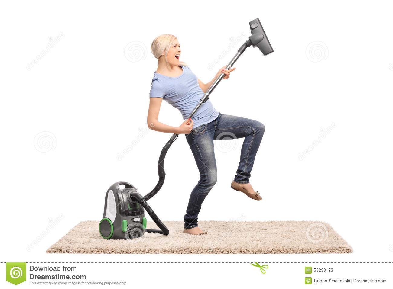 Woman Playing Guitar On Vacuum Cleaner Stock Photo  Image  ~ Staubsauger Yes