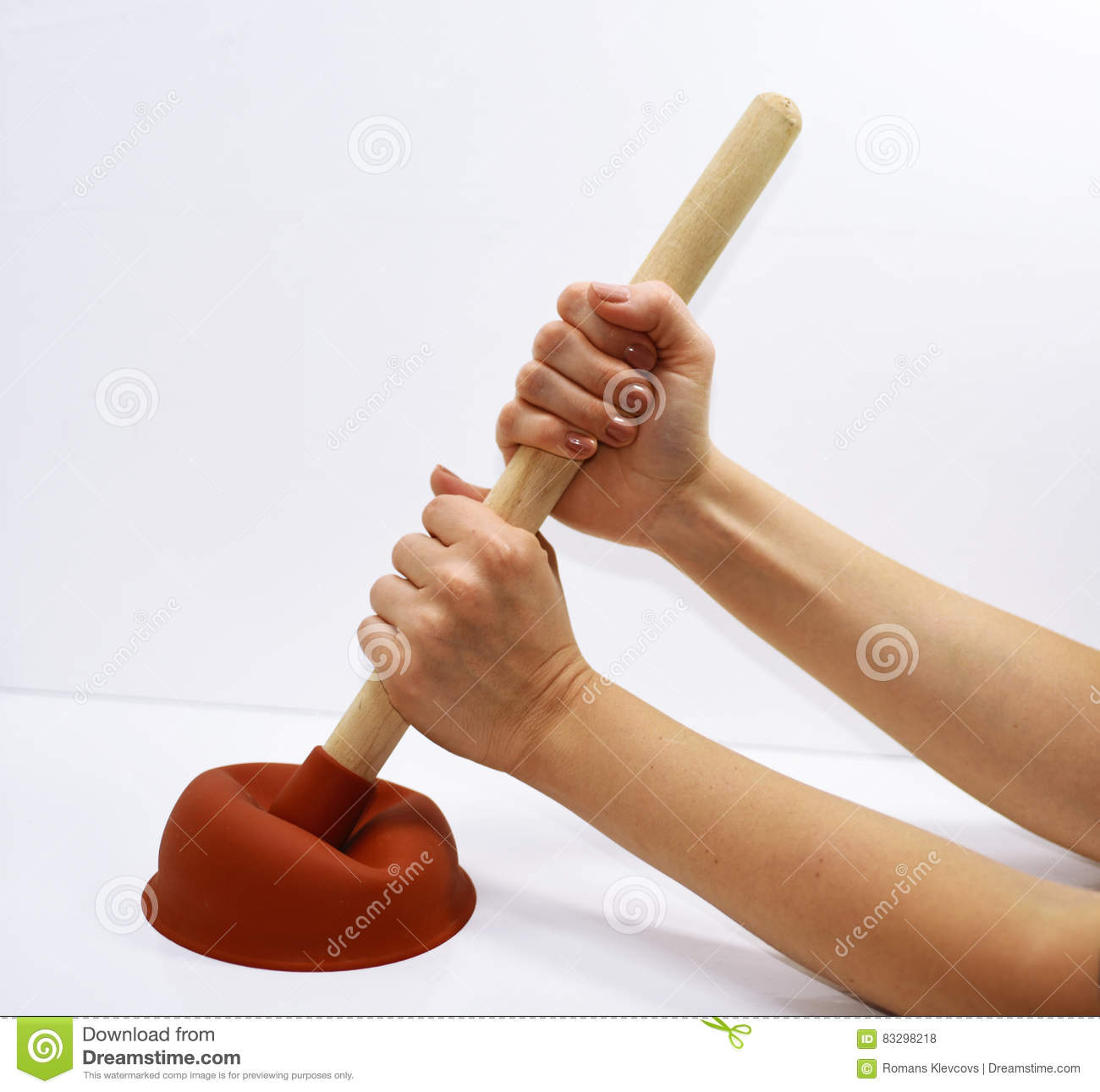 Woman with plunger trying to remove clogged sinks.