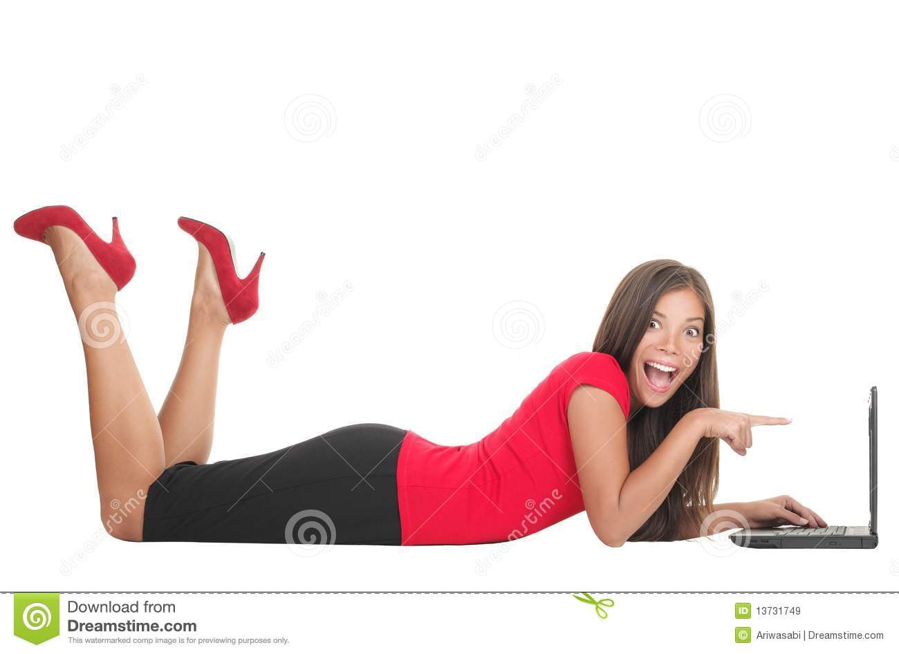 Woman pointing at laptop