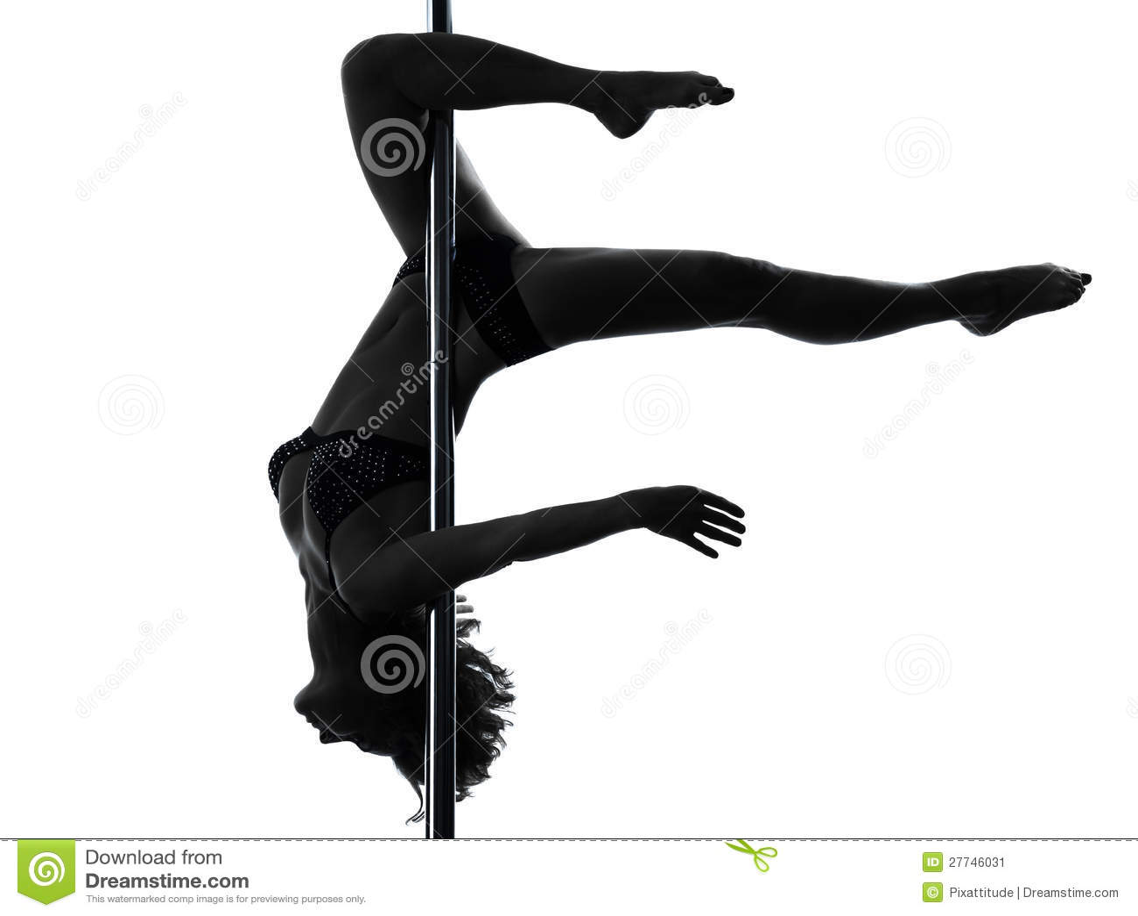 Woman Pole Dancer Scorpion Posture Silhouette Stock Image ...