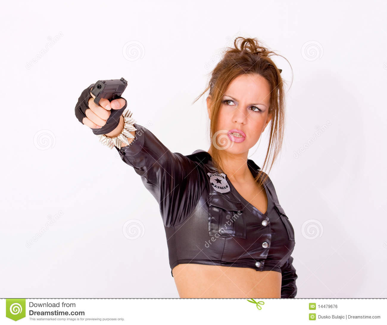 Woman In Police Uniform Holding A Gun Stock Photo - Image ...