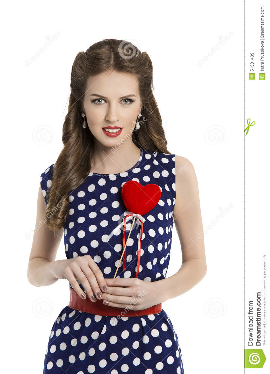 Woman In Polka Dot Dress With Heart Retro Girl Pin Up Hair Style