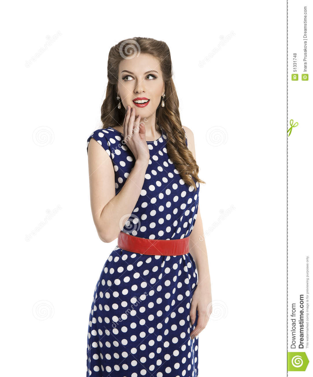 woman in polka dot dress retro girl pin up hair style beauty stock photo image of attractive. Black Bedroom Furniture Sets. Home Design Ideas