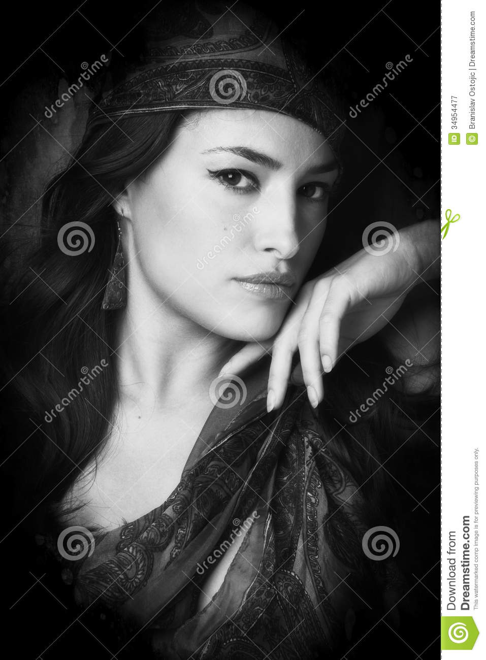 Black And White Photography Woman As Temptress : Woman portrait stock image of look earrings scarf