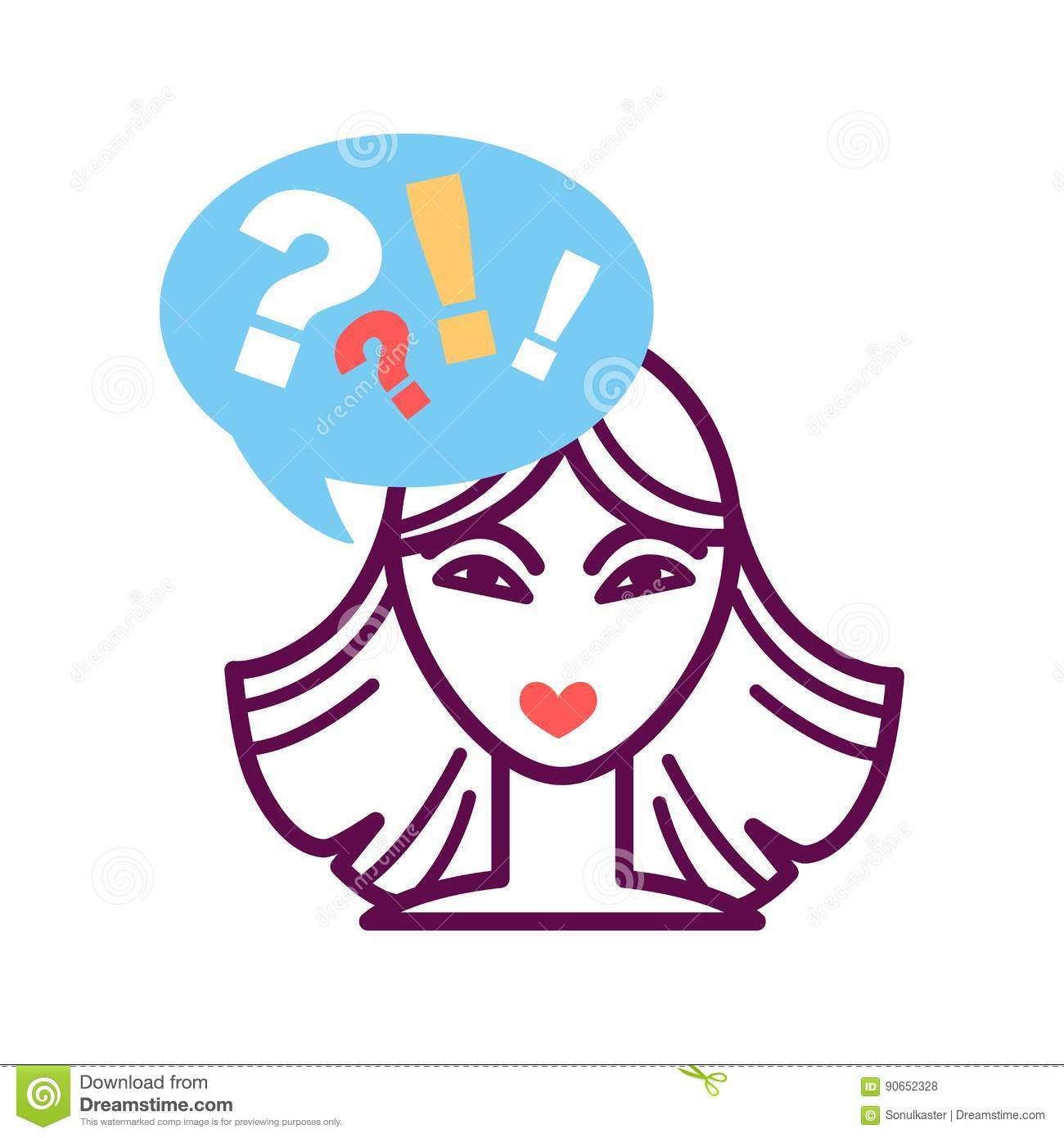 Woman Portrait Icon With Speech Bubble, Question And