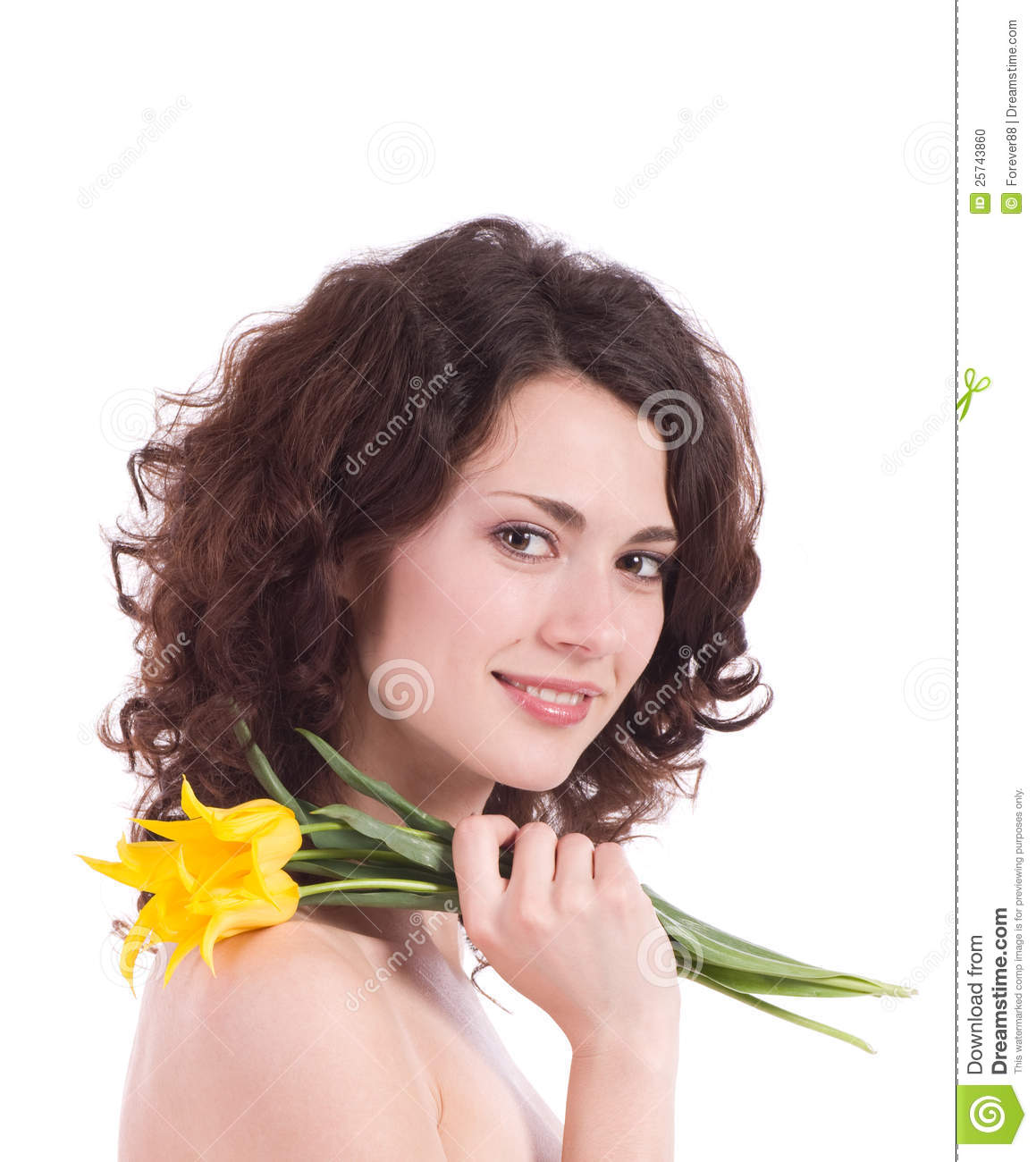 Woman portrait with yellow flowers