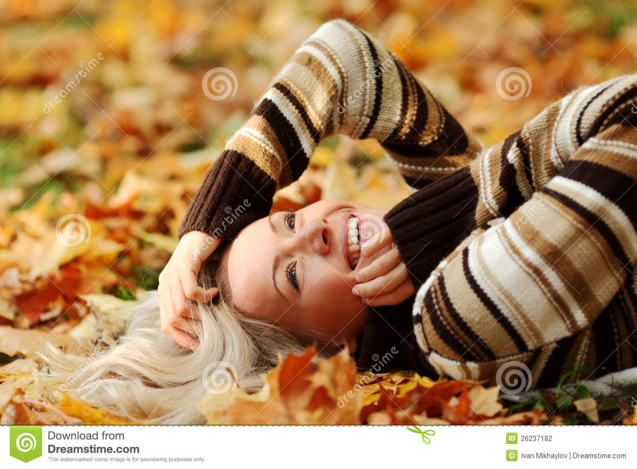 Download Woman Portret In Autumn Leaf Stock Photo - Image of girl, human: 26237182