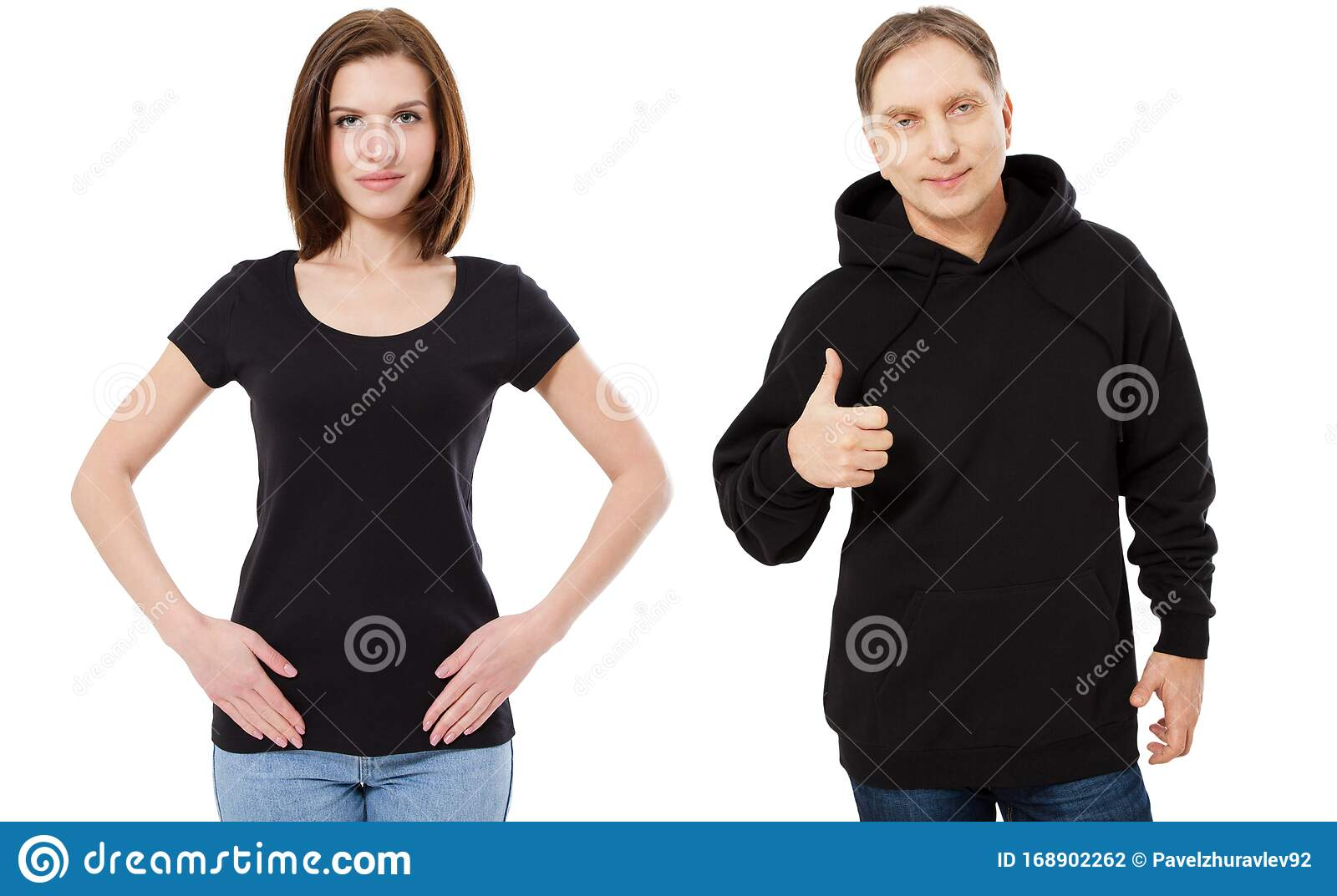 Woman Posing In Black T Shirt Copy Space And Man Posing In Black
