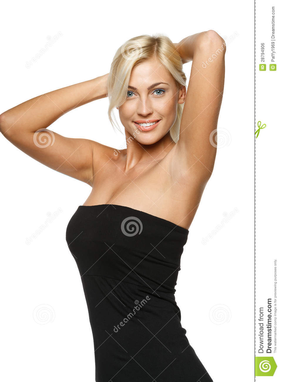 woman posing with hands behind head