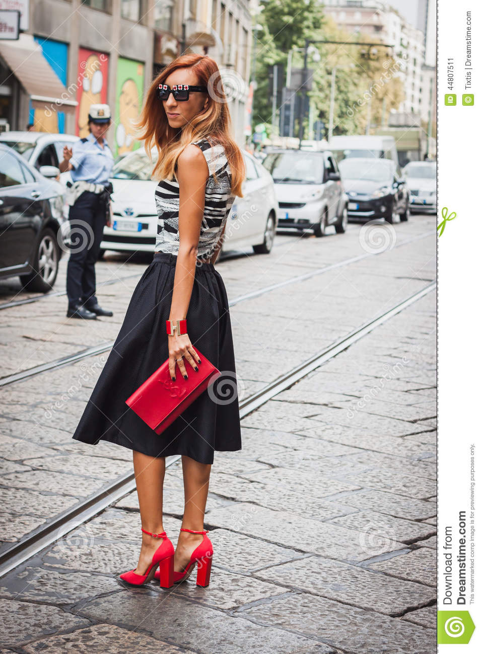 Woman Posing Outside Byblos Fashion Shows Building For