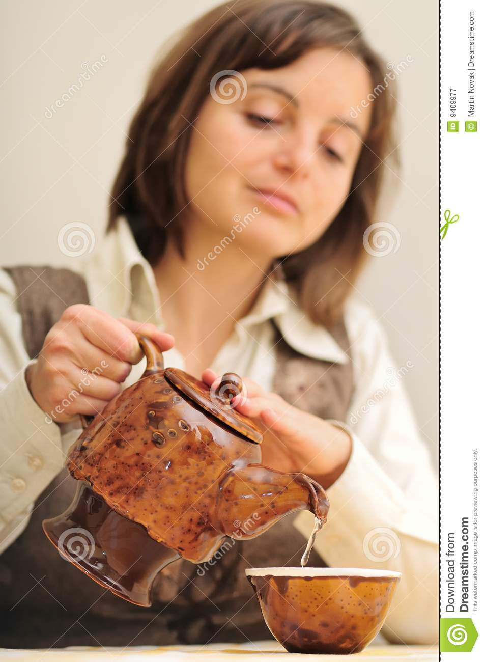 Woman Pouring Tea Stock Image Image Of People Object