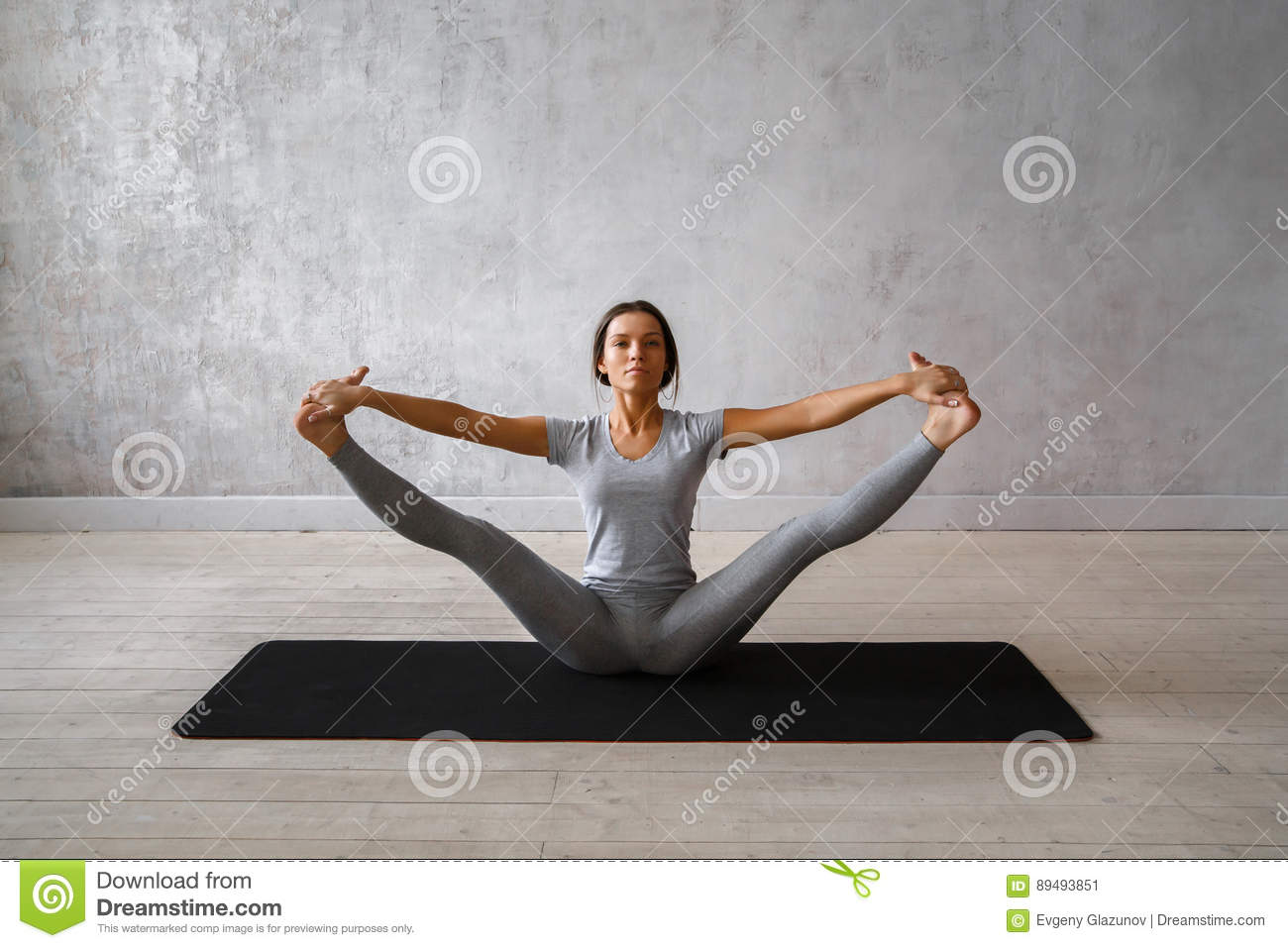 Woman Practicing Advanced Yoga A Series Of Yoga Poses Stock Image Image Of Ckground Studio 89493851