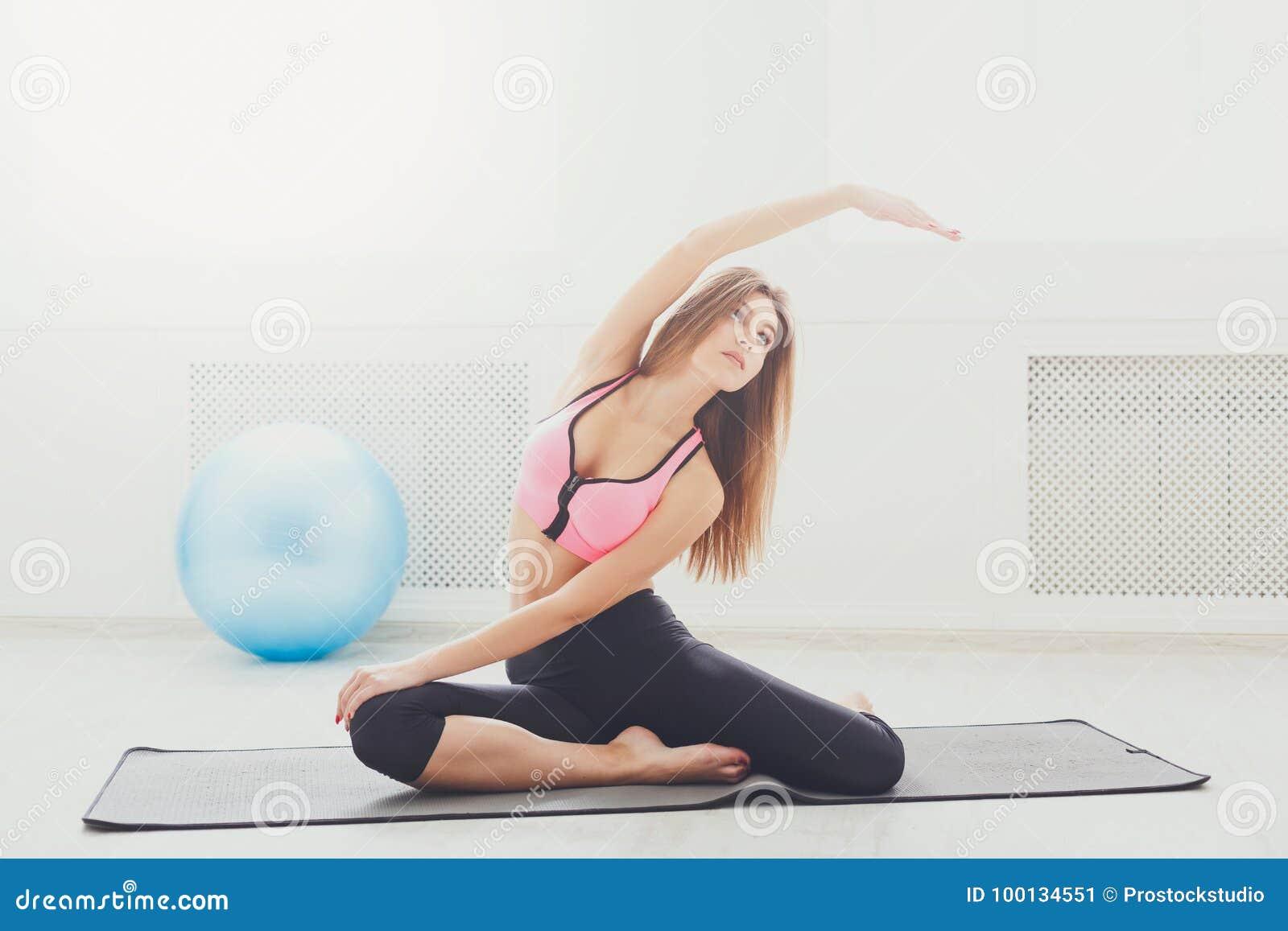 Woman Practicing Flexible Yoga Pose Stock Image Image Of
