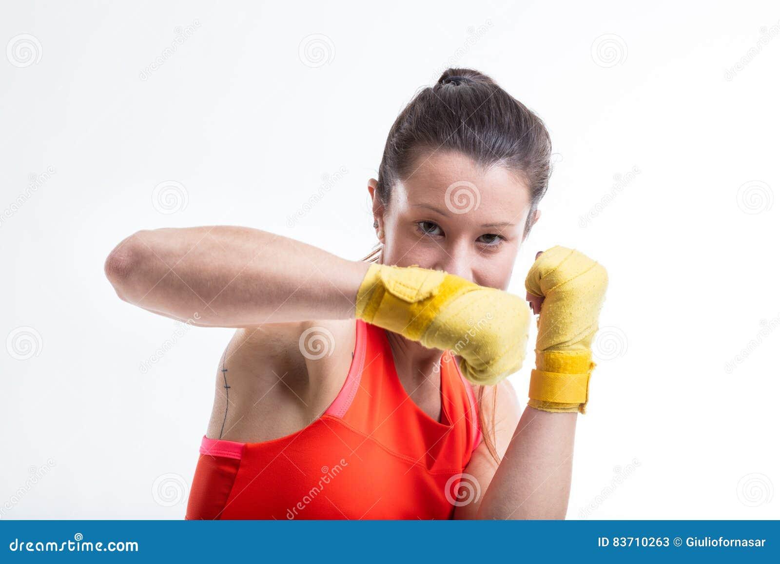 Woman Practicing Martial Arts Stock Photo