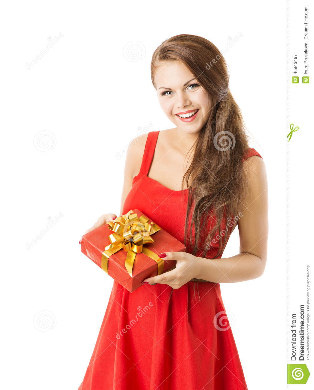 Woman Present Gift Box, Girl In Red Dress Celebrate ...