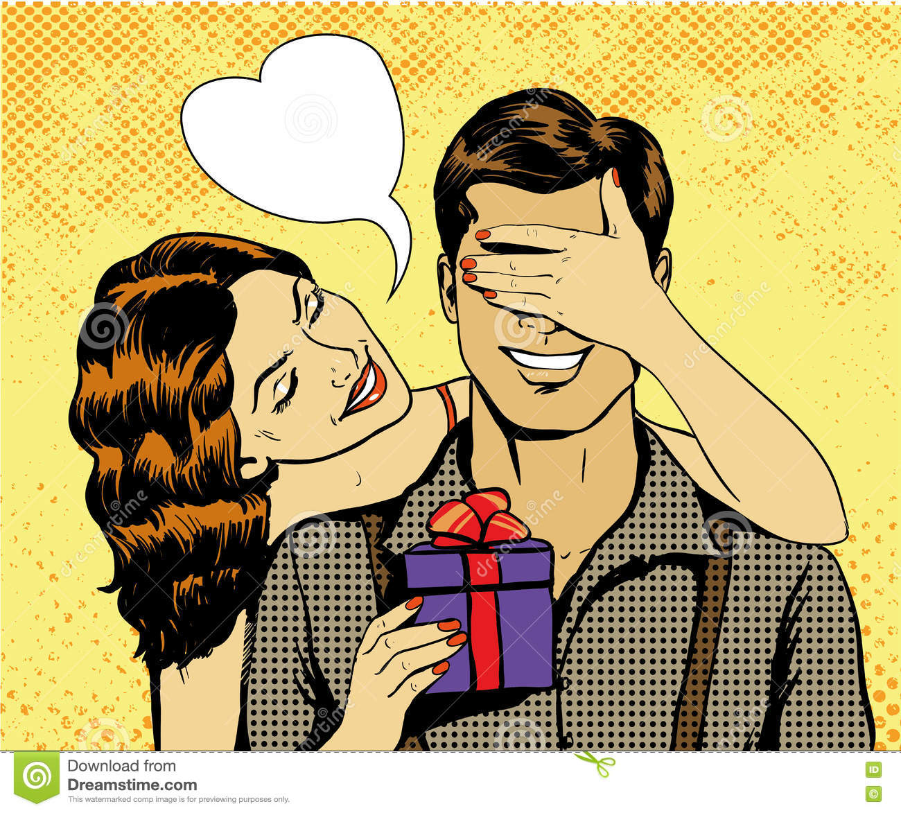 Vector Vintage Pop Art Beach Holiday Illustration Stock: Woman Presents Gift To Man. Vector Illustration In Retro